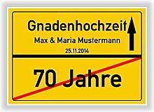 Geschenkidee zur Gnadenhochzeit - 70 Jahre verheiratet - Gnaden Hochzeit - Ortsschild Bild Geschenk zum Hochzeitstag - Jubiläum mit Namen und Datum