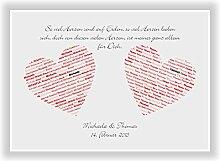 Geschenkidee zur Hochzeit - Valentinstag - Heirat - Verlobung - Braut oder Bräutigam - Wanddeko als Hochzeitsgeschenk - Kunstdruck Bild Geschenk zur Hochzeit - mit Namen und Datum