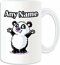 Geschenkmitteilungsfeld–Großer Becher Fuß. Panda (Design Tier Thema, weiß)–beliebigen Namen/Botschaft auf Ihrem Tasse Einzigartige