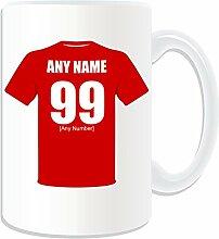 Geschenkmitteilungsfeld–Großer Becher Nottingham Forest (Fußball Club Design Thema, weiß)–beliebigen Namen/Botschaft auf Ihrem Tasse Einheitsgröße–Das Original den roten