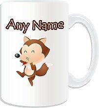 Geschenkmitteilungsfeld-groß braun Fuchs Tasse Design auf das Thema der Tiere (Englisch) blanc-nom Nachricht auf dem Tasse Einzigartige