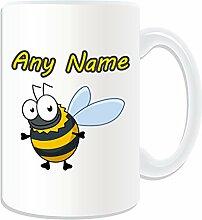 Geschenkmitteilungsfeld Großer Becher, Design Hummel Insekten Thema der Tiere (Englisch) weiß/Namen/Die Botschaft auf dem Tasse Einzigartige Bienchen gelb