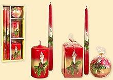 Geschenkpackung Kerzen 5-teiliges Set - Motiv rustikale Kerze rot als hochwertige Geschenkidee