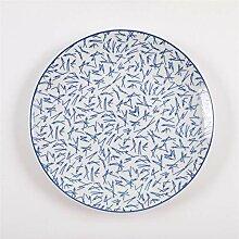 Geschirr 20cm blau und weiß Porzellan-Disc