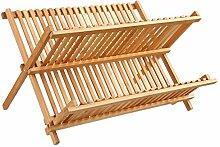 Geschirr-Abtropfgitter aus Bambus - mit Platz für