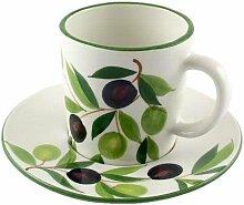 Geschirr-Serie Oliv Kaffeebecher mit Untertasse,