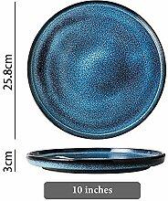 Geschirr Sternenrige blaue keramische Platte, die