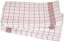 Geschirrtücher, kariert, gestreift, Halbleinen, Gläsertücher, Küchentücher, Handtuch, 10 Stück | 50x70 cm - Ro