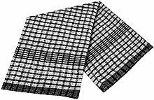 Geschirrtücher Übergroße Mono Check Super Saugfähig Schnell Trocknend 100% Baumwolle, schwarz, Pack Off 12