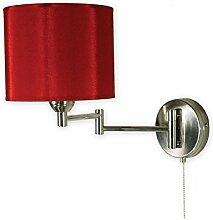Geschmackvolle Wandleuchte Nickel Rot E27 bis 60W 230V mit Zugschalter Stahl Textil Wohnzimmer Esszimmer Lampe Leuchte innen Beleuchtung