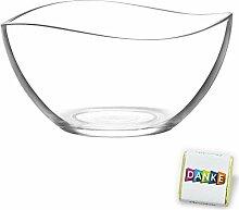 Geschwungene Salatschüssel aus Glas, stilvolle