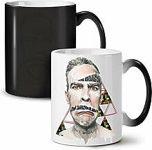 Gesicht Drucken Gestalten Muster Schwarz Farbwechsel Tee Kaffee Keramisch Becher 11 oz   Wellcoda