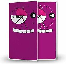 Gesicht Pink - Moderne Wanduhr mit Fotodruck auf Polycarbonat | Fotouhr Bilderuhr Motivuhr Küchenuhr modern hochwertig Quarz | Variante:30 cm x 60 cm mit weißen Zeigern