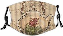 Gesichtsschutz Mundschutz Teekanne Tee Zeit Blumen