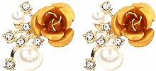 Gespout 1 Paar Mode Female Ohrringe Wunderschöne Ohrstecker Damen Earrings Rose Damen Schönes Geschenk Schmuck Accessoires (Gelb)