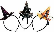 Gespout 3 Stück Haargummis Haarbänder Haarnadel Hexenhut Haarbänder Halloween Kopfschmuck Abend Party Haarschmuck Haar Accessoires Dekorationen