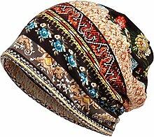 Gespout Caps für Damen Blumen Hut Mädchen Hüte Strickmützen Wintermütze Warmer Hut Mütze und Schal-Dual-Use