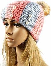 Gespout Caps für Damen Stricken Häkeln Hut Mädchen Hüte Mützen Strickmützen Barett Warm halten Hut Wintermütze Plüsch Warmer Hu
