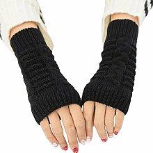 Gespout Gestrickte Handschuhe Damen Herbst und Winter Halber Finger Warme Handschuhe Kurze Handschuhe Armsätze