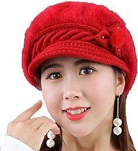 Gespout Mädchen Hüte Mützen Strickmützen Barett Warm halten Hut Wintermütze Plüsch Warmer Hut Caps für Damen Stricken Häkeln Hu