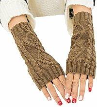 Gespout Männer und Frauen Herbst und Winter Halber Finger warme Handschuhe verdrehen Kurze Handschuhe Armsätze Gestrickte Handschuhe