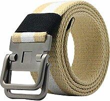 Gespout Streifen Gürtel für Herren Leinwand Gürtel Metall Belt Schnalle Gürtel Freien Casual Gürtel für Männer und Frauen