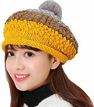 Gespout Stricken Hut Herbst und Winter Warm Halten Hut Strickmützen Wintermütze Barett Warmer Hut Caps für Damen