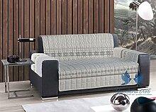 Gesteppter Sofaüberwurf, Strickmotiv 3 Posti grau
