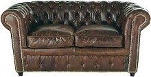 Gestepptes 2-Sitzer Sofa aus Leder, braun