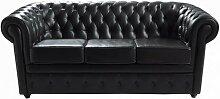 Gestepptes 3-Sitzer-Sofa aus Leder, schwarz