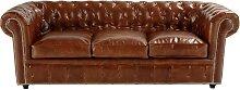 Gestepptes ausziehbares -Sofa 3-Sitzer aus Leder,