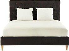 Gestepptes Bett aus Samt mit Lattenrost, 160 x