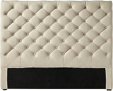 Gestepptes Bett-Kopfteil aus Leinen, B 160cm