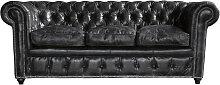 Gestepptes -Sofa 3-Sitzer aus Leder, schwarz
