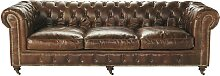 Gestepptes -Sofa 4-Sitzer aus Leder, braun Vintage