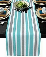 Gestreifter Tischläufer, marineblau, grau, weiß,