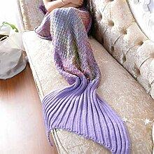 Gestrickt Mehrfarbig Fischschwanz Decke Warm Windschutzscheibe Kniedecke Klimatisierte Decke Sofadecke 80 * 180cm,Purple