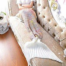 Gestrickt Mehrfarbig Fischschwanz Decke Warm Windschutzscheibe Kniedecke Klimatisierte Decke Sofadecke 80 * 180cm,White