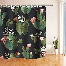 Get Orange Flower Grün Pflanzen Kaktus Sukkulente Schimmelresistent Polyester Stoff Duschvorhang Set Fantastische Dekorationen Bad Vorhang 182,9x 182,9cm schwarz