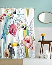 Get Orange Papageien Tropical Wild Orchideen und Hibiscus Blumen Hawaiian Jungle Stil Badezimmer Dusche Vorhang 182,9x 182,9cm Parrots
