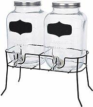Getränke Spender Set - 2X 4l Glas mit Zapfhahn