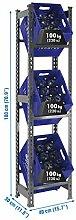 Getränkekistenregal 1800 x 410 x 300 mm, bis zu 3 Kisten, 100 kg Tragkraft/Ebene