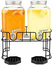 Getränkespender aus Glas, mit Metallständer und