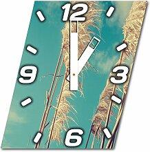 Getreide, Design Wanduhr aus Alu Dibond zum Aufhängen, 30 cm Durchmesser, breite Zeiger, schöne und moderne Wand Dekoration, mit qualitativem Quartz Uhrwerk
