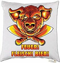 getshirts - RAHMENLOS® Geschenke - Kissen - BBQ - Feuer Fleisch Bier - Grill Design - weiss uni