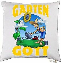 getshirts - RAHMENLOS® Geschenke - Kissen - Heimwerker - Garten Gott - weiss uni