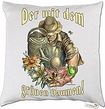 getshirts - RAHMENLOS® Geschenke - Kissen - Heimwerker - Garten - Grüner Daumen - weiss uni
