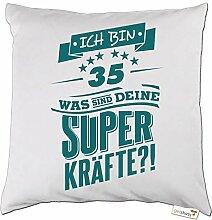 getshirts - RAHMENLOS® Geschenke - Kissen - Superkraefte zum 35. Geburtstag - petrol - weiss uni