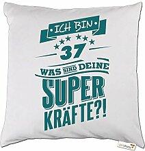 getshirts - RAHMENLOS® Geschenke - Kissen - Superkraefte zum 37. Geburtstag - petrol - weiss uni