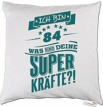 getshirts - RAHMENLOS® Geschenke - Kissen - Superkraefte zum 84. Geburtstag - petrol - weiss uni